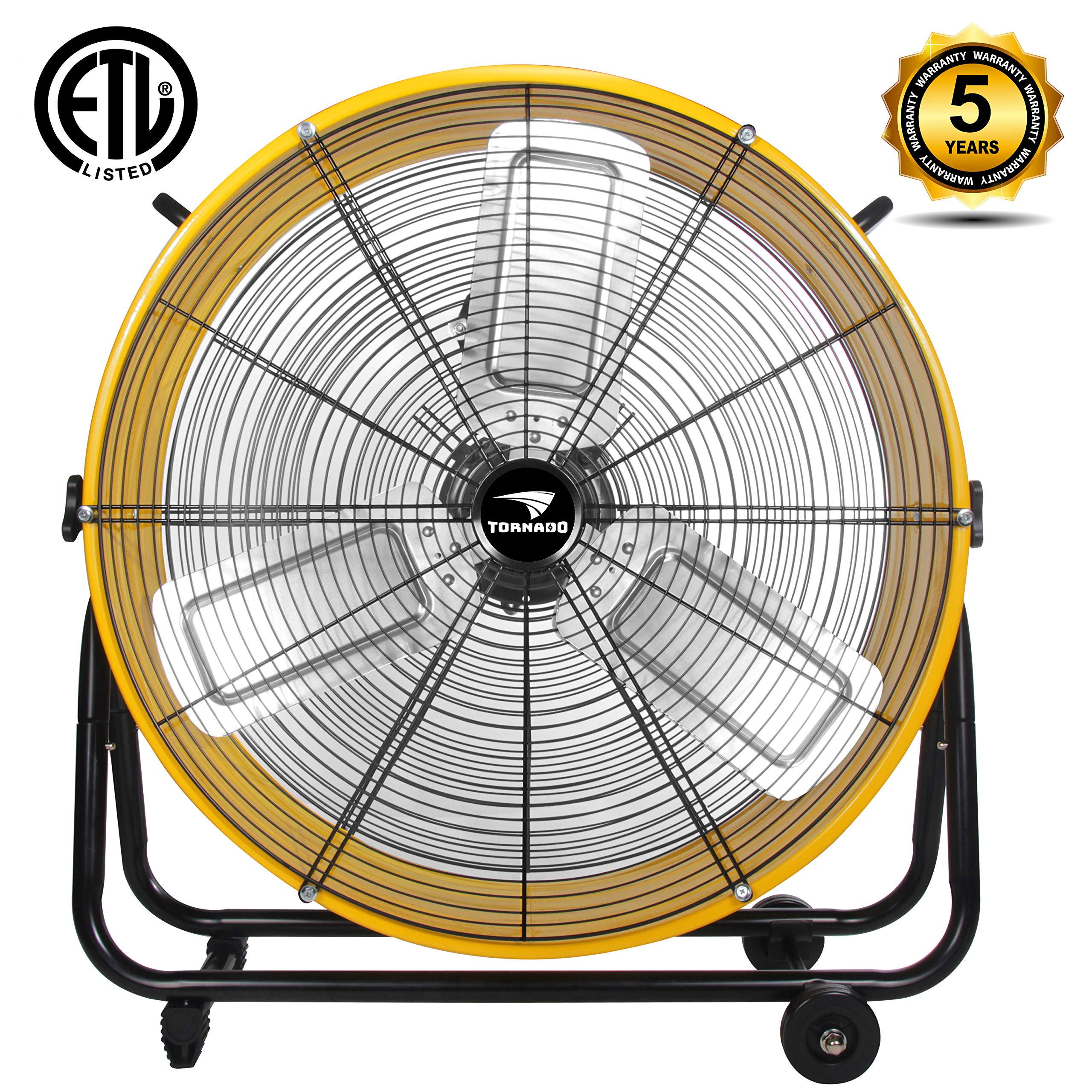 Tornado - 24 Inch High Velocity Air Movement Heavy Duty Metal Drum Fan - 3 Speed Air Circulator Fan - For Industrial, Commercial, Residential, and Greenhouse Use - ETL Safety Listed - 5 Years Warranty by Tornado
