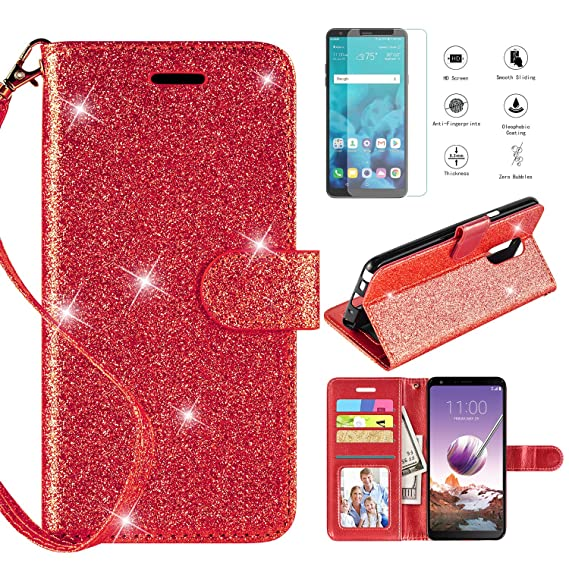 3c959aaec420 LG Stylo 4 Case 2018,LG Stylo 4 Phone Case Wallet Case w Screen Protector,  Kickstand Card Slots Wrist Strap 2 in 1 Glitter Magnetic Flip PU Leather ...