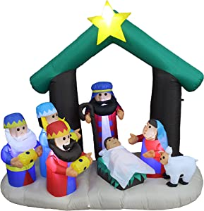 BZB Goods 6 Foot Tall Christmas Inflatable Nativity Scene LED Lights Outdoor Indoor Holiday Decorations Blow up Yard Giant Lawn Inflatables Home Family Outside Decor