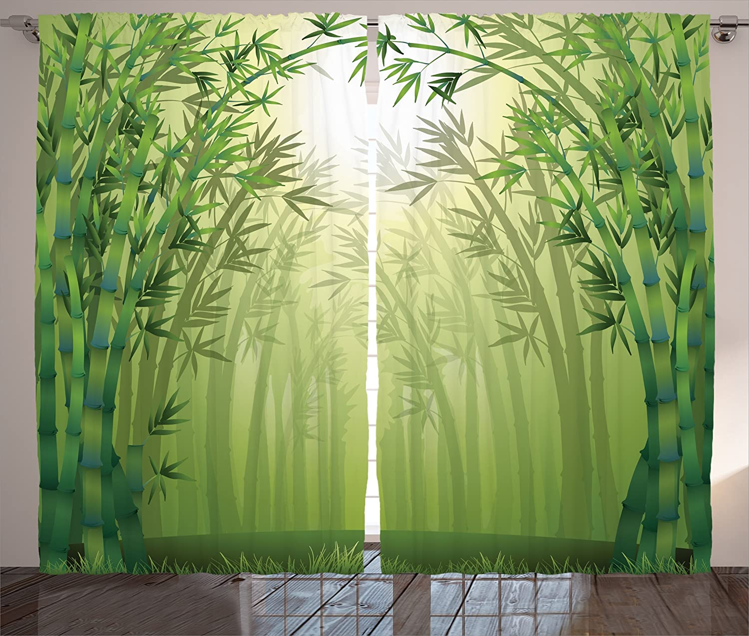 Ambesonne Olive Green Curtains Bamboo Decor, Illustration of Bamboo Trees in Rain Forest Far Eastern Wildlife Tropical Nature, Living Room Bedroom Decor, 2 Panel Set, 108 W X 84 L Inches, Green