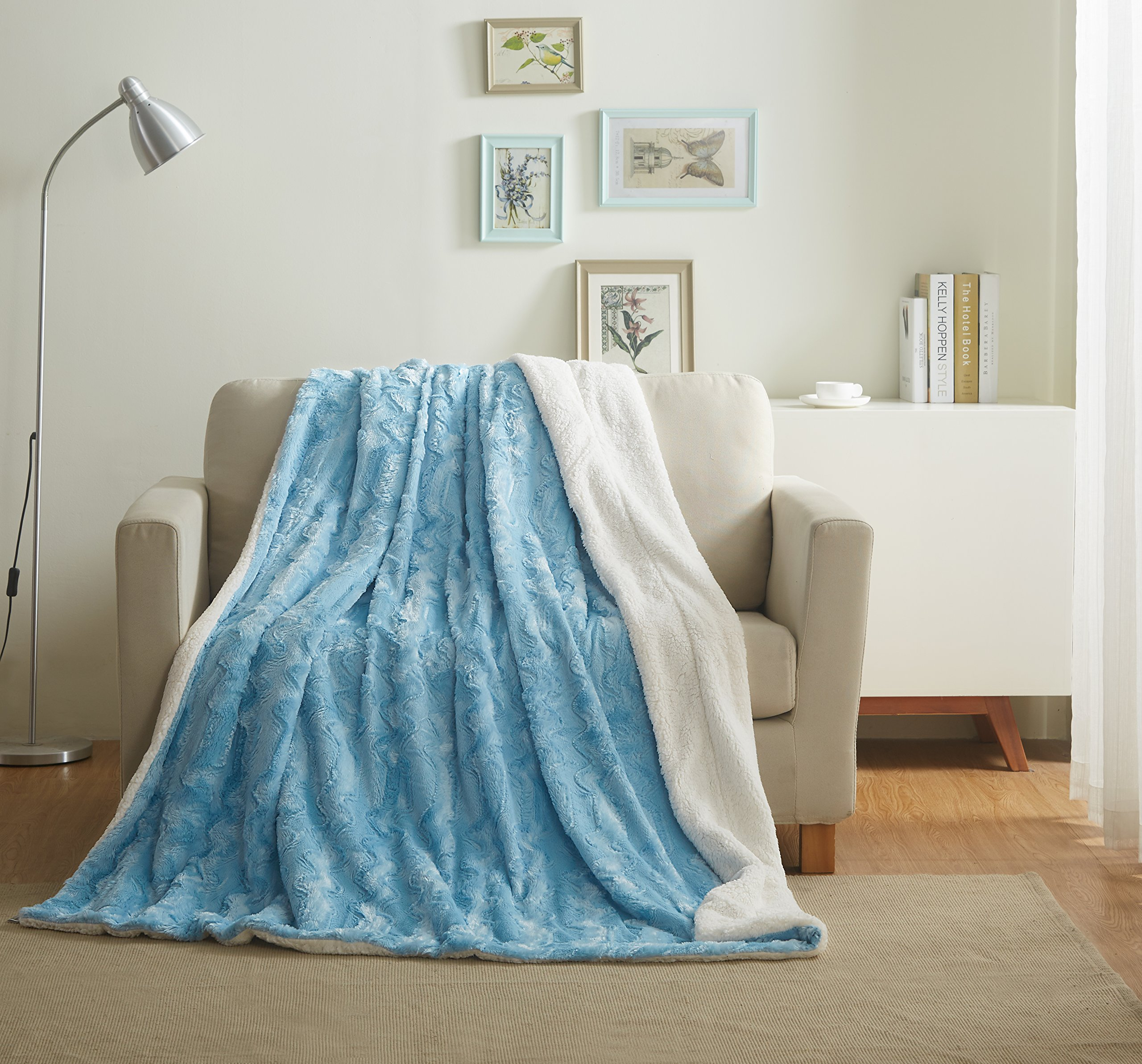Tache Faux Fur Throw Blanket - Super Soft Light Sky Baby Blue Pile Backed by Warm White Sherpa - 90x90