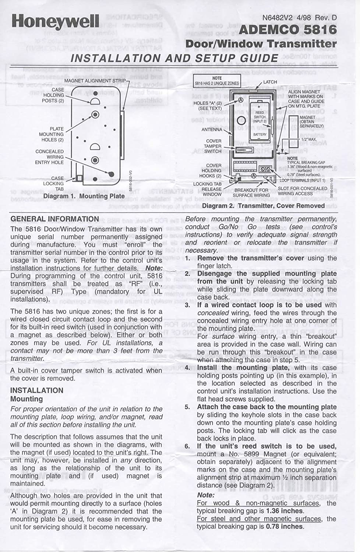 2pack Honeywell Ademco 5816lp Wireless Door Window Twozone Burglar Alarm Circuit Description Sensor Camera Photo