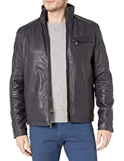 Emanuel by Emanuel Ungaro Mens Leather Motorcycle Jacket with Double Entry