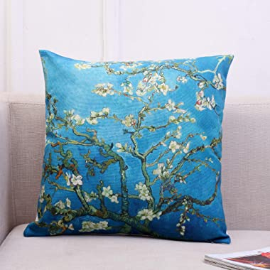 Gyulin Van Gogh Painting Picture Print Cotton Linen Blend Square Toss Pillowcase Cushion Cover Pillow Case for Couch Sofa Only Cover No Insert 18x18 inches (Branches of an Almond Tree in Blossom)