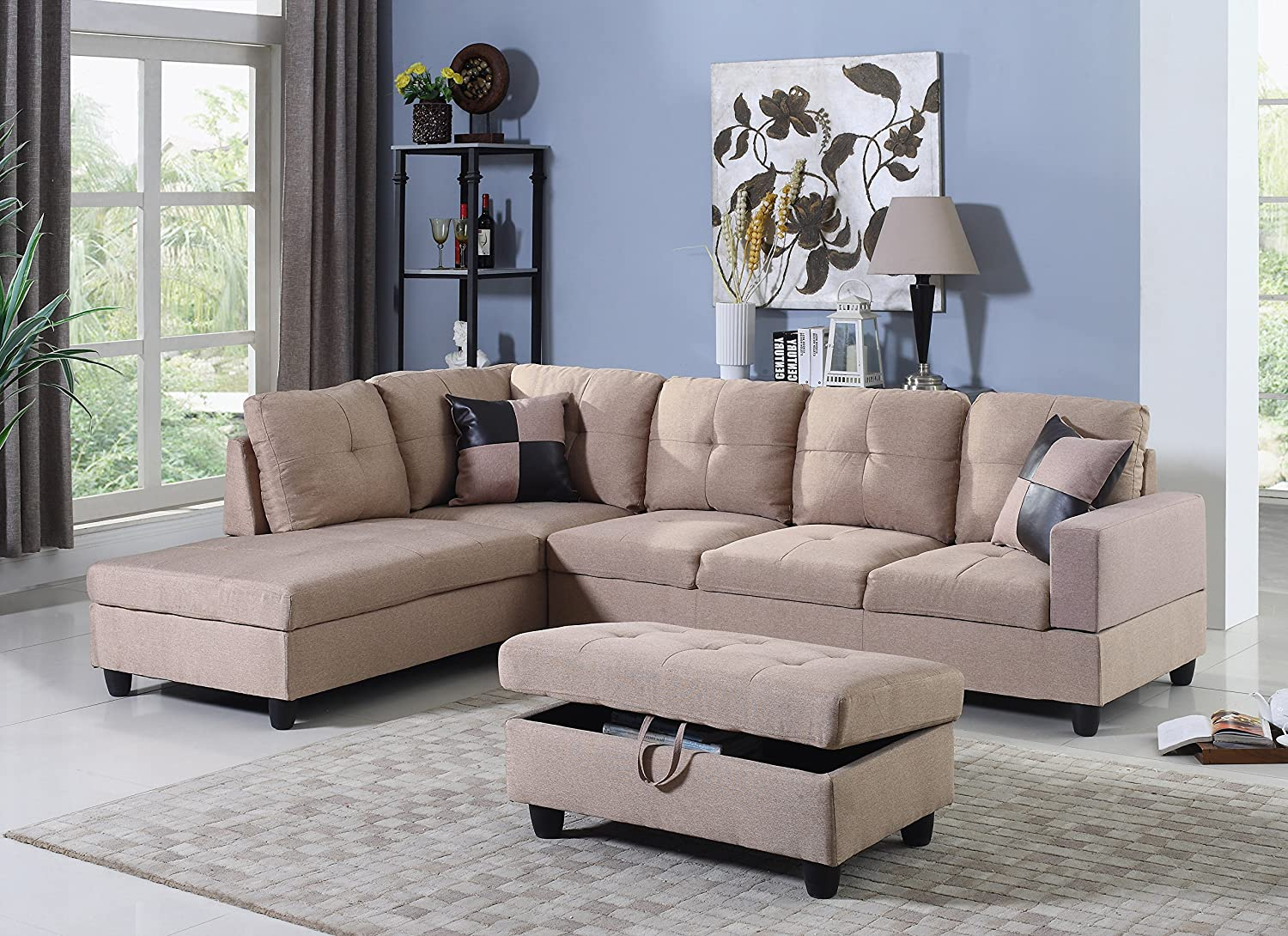 Living Room Furniture Sets Sofa And Loveseat Sets Microfiber Sectional Sofa With Chaise