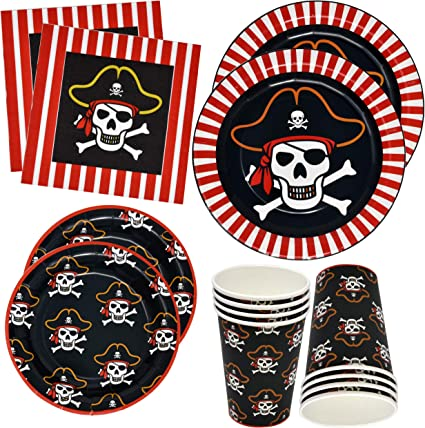 Amazon.com: Set de regalos de fiesta pirata con platos de 24 ...