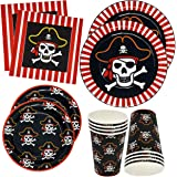 "Pirate Party Supplies Tableware Set 24 9"" Plates 24 7"" Plate 24 9 Oz Cups 50 Luncheon Napkins For Pirate Crossbone Skull Band"