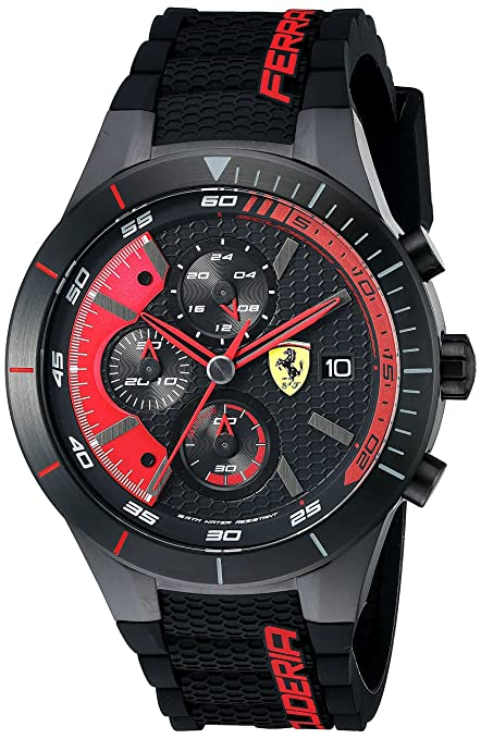 Ferrari Men's 0830260 REDREV EVO Analog Display Quartz Black Watch Men at amazon