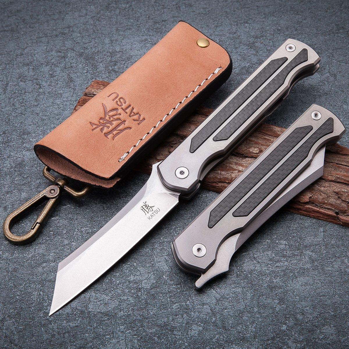 KATSU Camping Pocket Folding Japanese Knife, Titanium & Carbon Fiber Handle, Frame Lock, Stonewashed Cleaver Razor Blade, Leather Sheath by KATSU (Image #3)