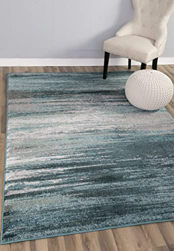 Teal Gray Stripes Traditional Distressed 5 x 8 5 3 X 7 7 Soft Area Rug Modern Vintage Transitional Rug Soft Living Dining Room Contemporary Area Rug