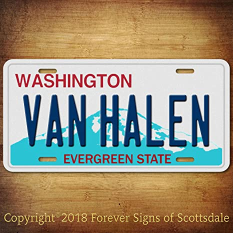 Van Halen Rock And Roll Band Washington State Aluminum Vanity License Plate Tag