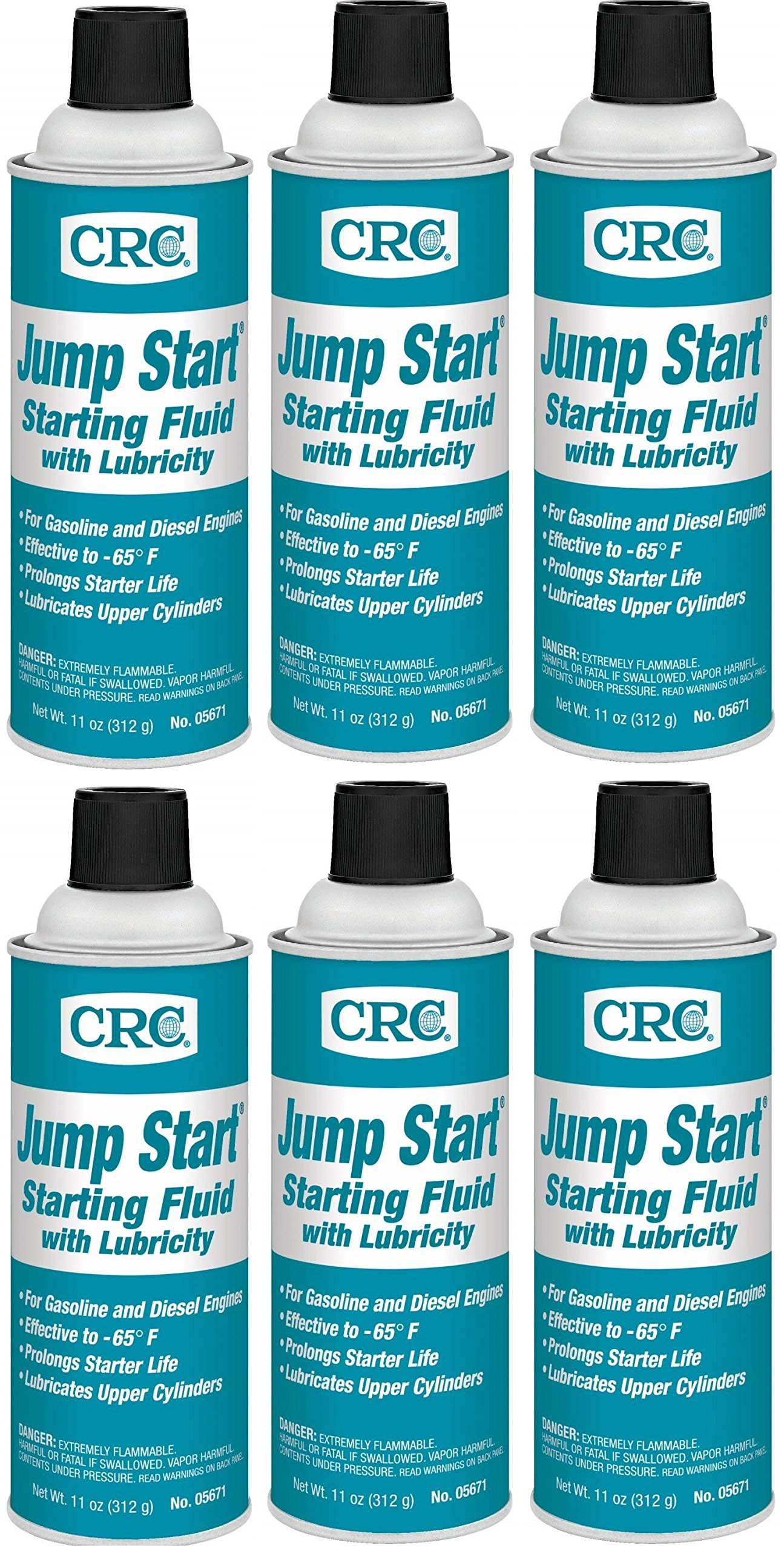 CRC  05671 Jump Start Starting Fluid Lubricity - 11 Wt oz. (6) by CRC