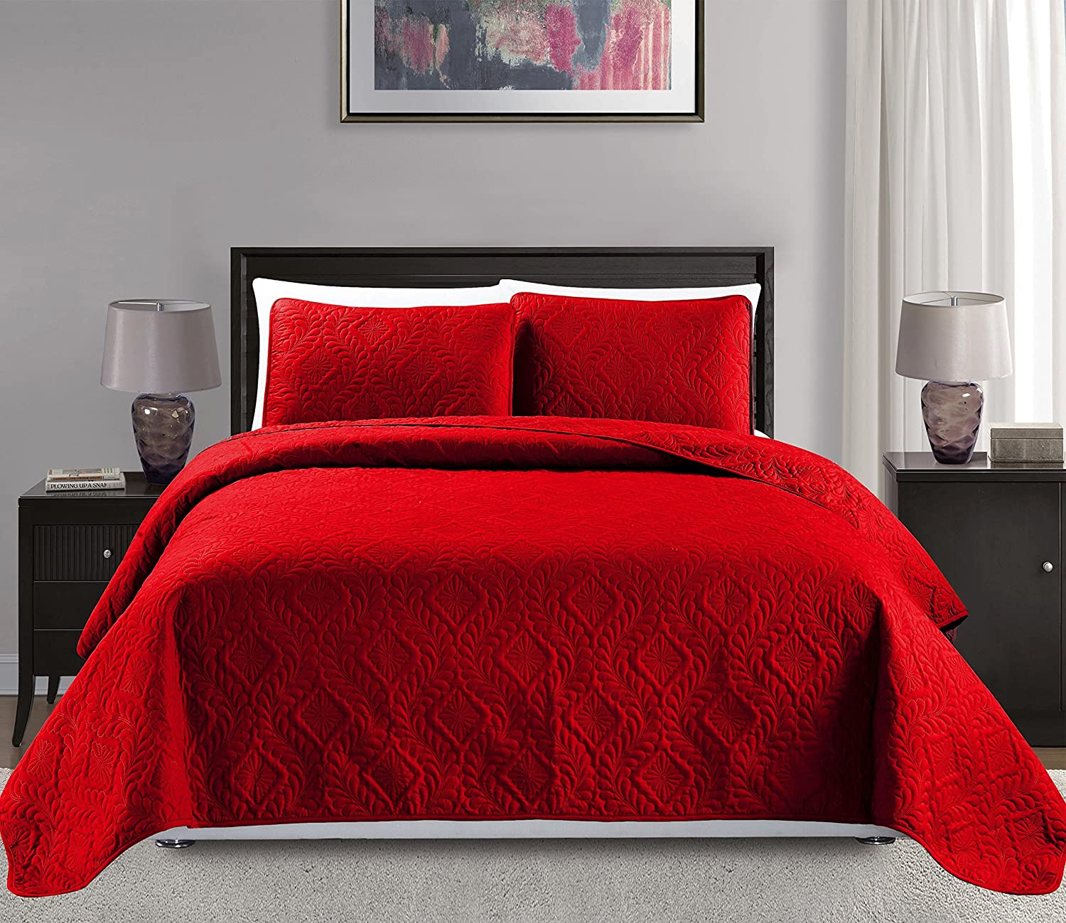 Mk Collection King/California king over size 118x106 3 pc Diamond Bedspread Bed-cover Embossed solid Red New MK Home FBA_B01G7WQBH0