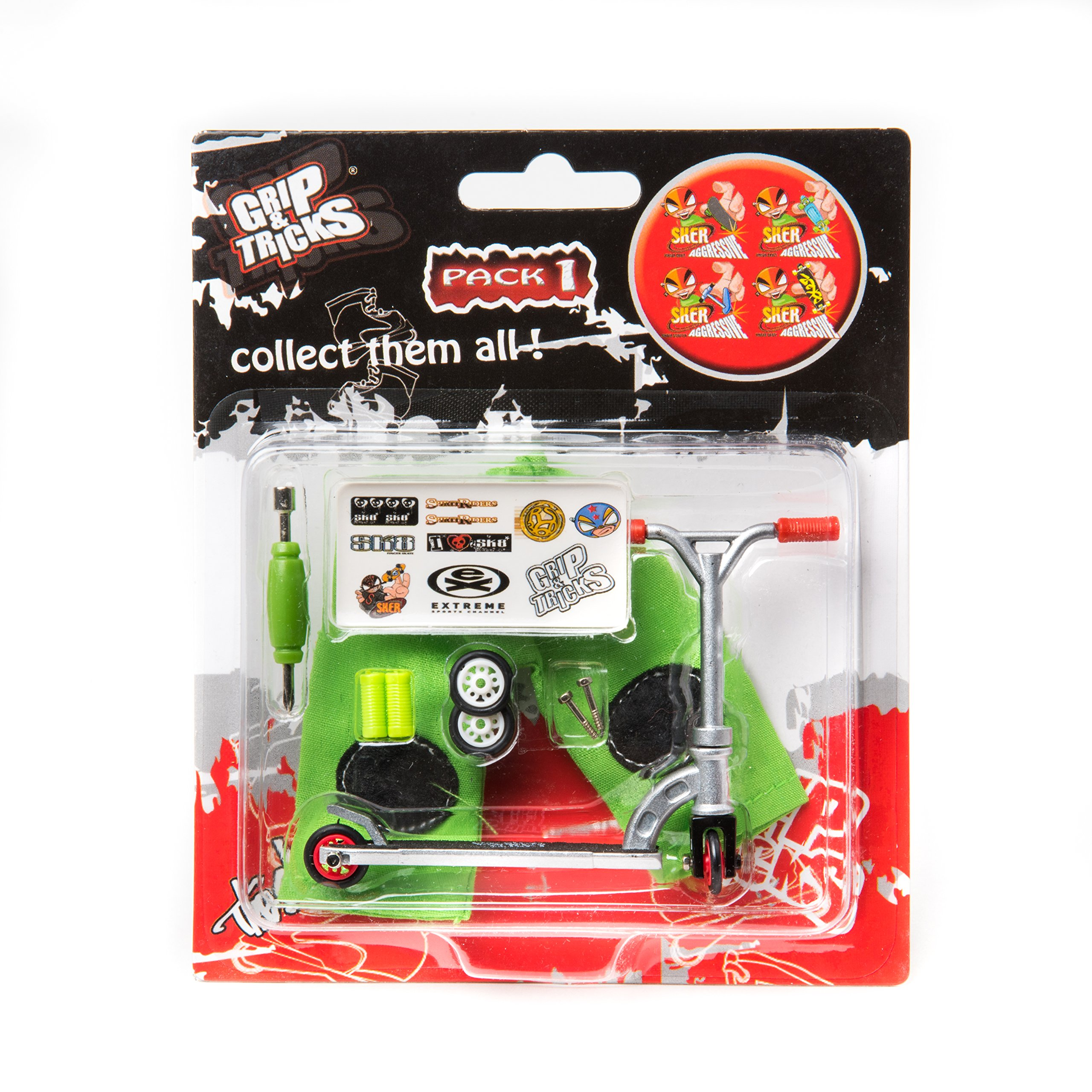 Scooter M7-Grip and Tricks - Finger Scooter - Skate - Pack1 - Silver/Red by Grip&Tricks