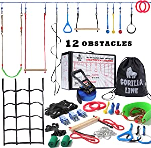 Ninja Warrior Obstacle Course for Kids - 60 ft Slack Line 12 Obstacles – Ninja Slackline Obstacle Course for Kids Backyard – Ninja Warrior Training Equipment for Kids Monkey Bars, Monkey Ladder & More