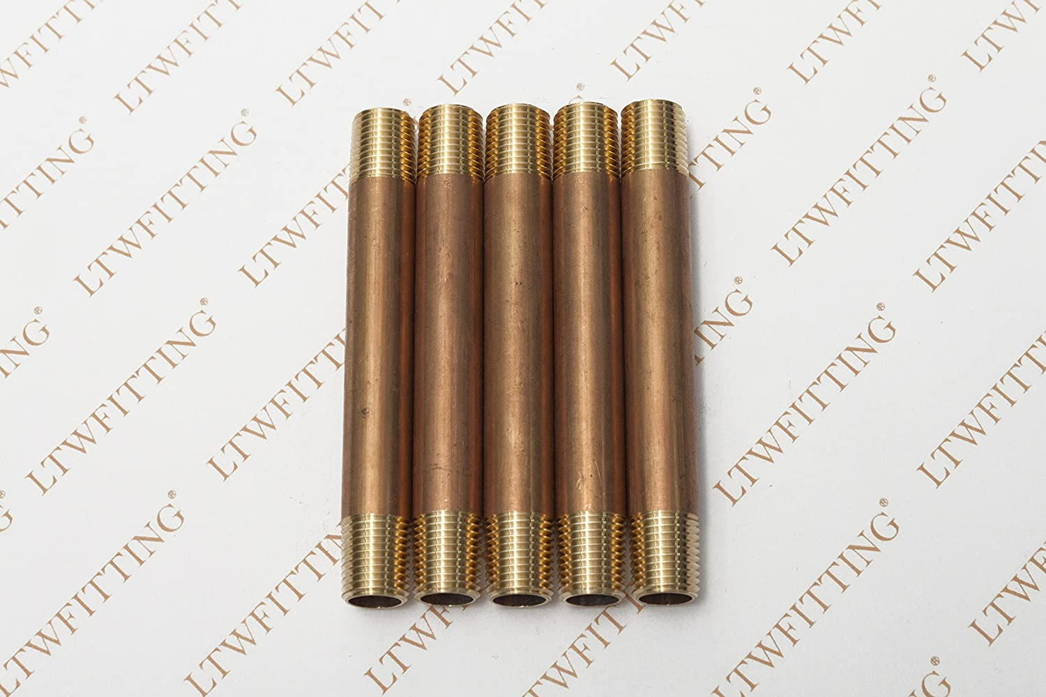 Pack of 5 LTWFITTING Brass Pipe 4 Long Nipple Fitting 1//4 Male NPT Air Water