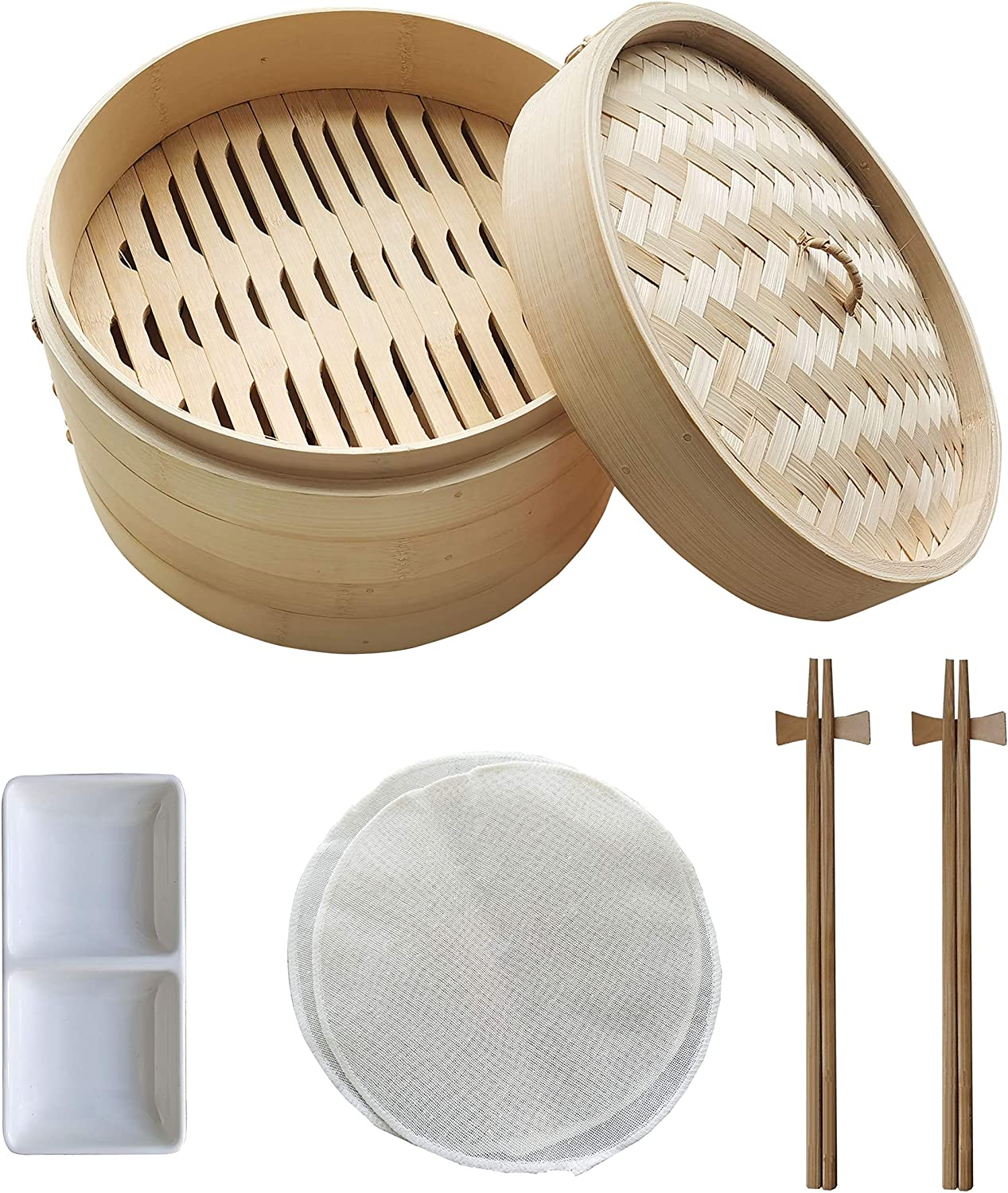 ZYH 10-Inch Bamboo Steamer, 2-Layer Food Steamer, Natural Bamboo Dumpling Steamer With Cover