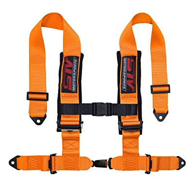 "STVMotorsports 4 Point 2"" Straps Seat Harness Auto Latch Shoulder Pads RH4.2A - for Off-Road Vehicles, UTV, Trucks (for one seat) (Orange): Automotive"