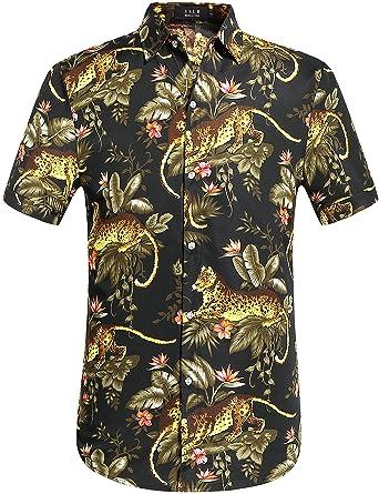 SSLR Men s Tiger Prints Button Down Casual Aloha Short Sleeve Hawaiian Shirt  (Large 0dfc51ab1
