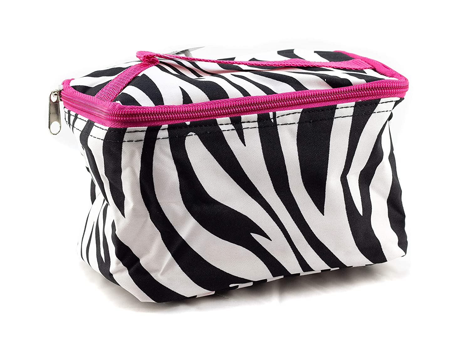 Uni Collections 7 Inch Cosmetic Bag (Zebra Print Pink Trim)