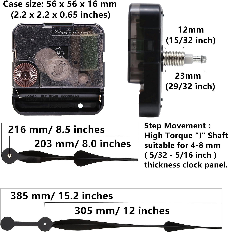 Youngtown 12888 High Torque Long Shaft Clock Movement Mechanism with 12 Inch Long Spade Hands