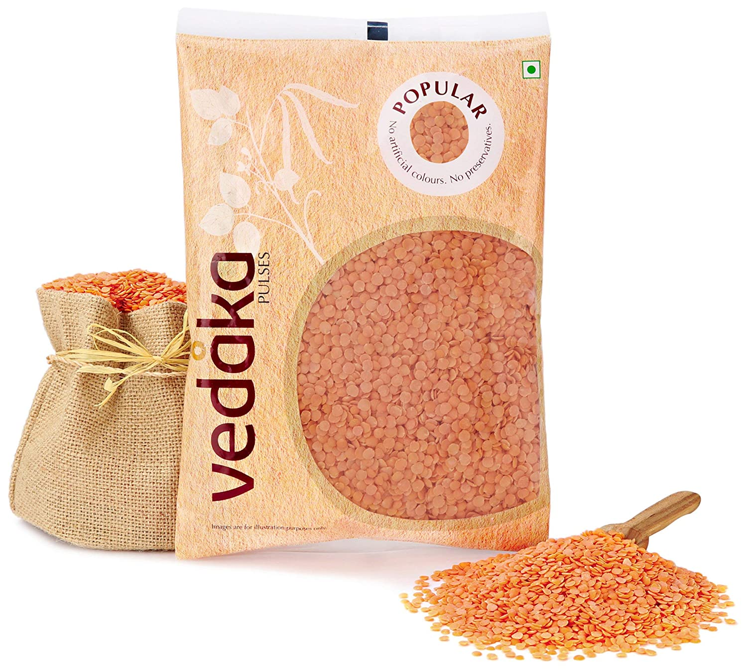 Vedaka Popular Red Masoor Dal Split, 1 kg