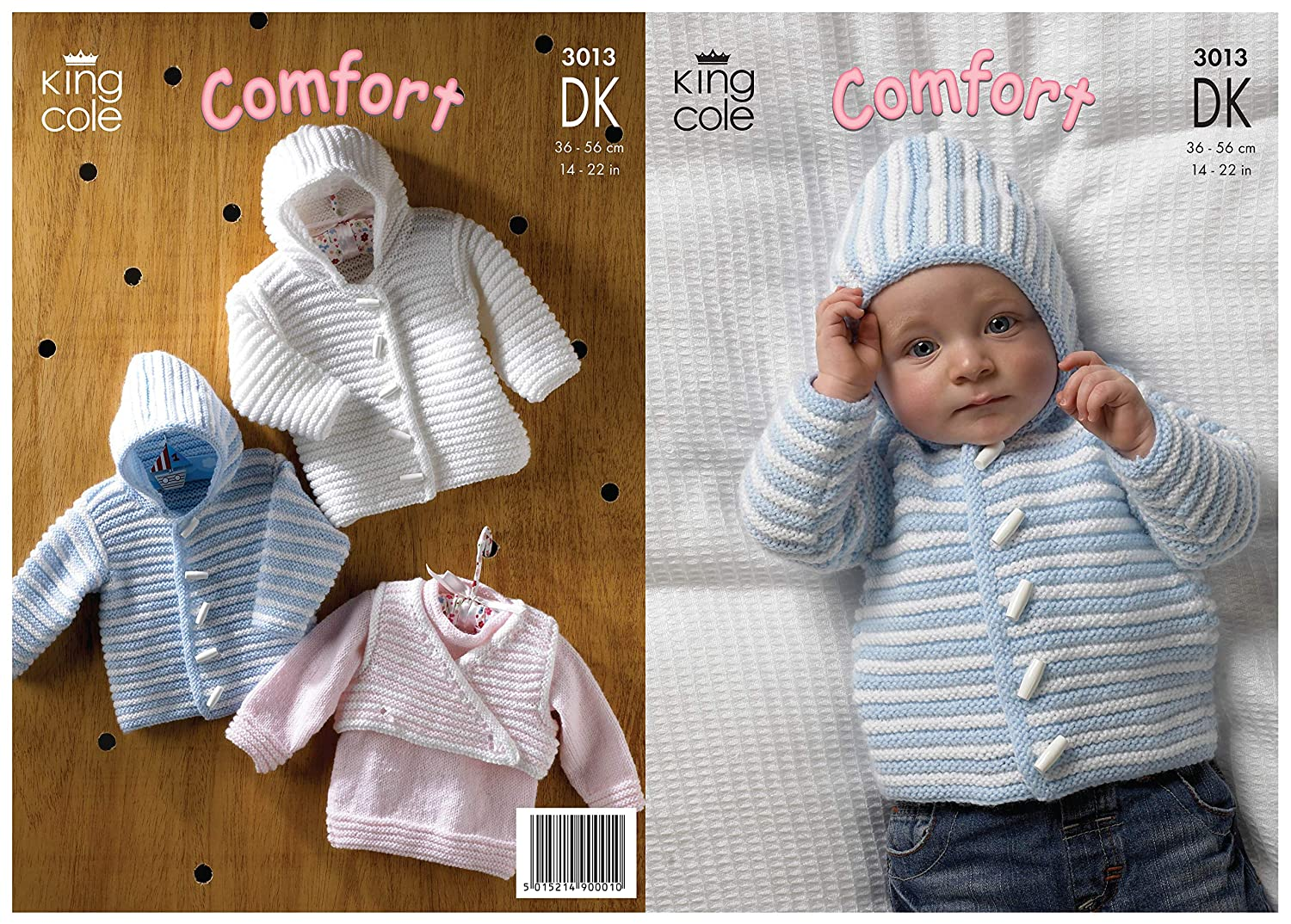 b2c3d4f72 Amazon.com  King Cole Double Knitting DK Pattern 3013 Baby Striped Sweater  Hooded Jacket   Body Warmer  Home   Kitchen