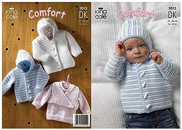 7e330d9d4ffe Amazon.com  King Cole Double Knitting DK Pattern 3013 Baby Striped ...