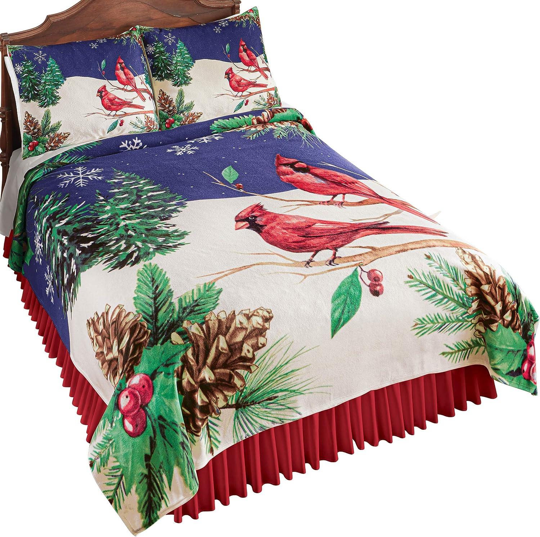 Rustic Winter Cardinal Scene Fleece Coverlet Christmas Bedding