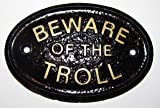 HomeWorks Beware of the Troll (Cave Dweller) Garden Wall Or Fence Plaque/Sign