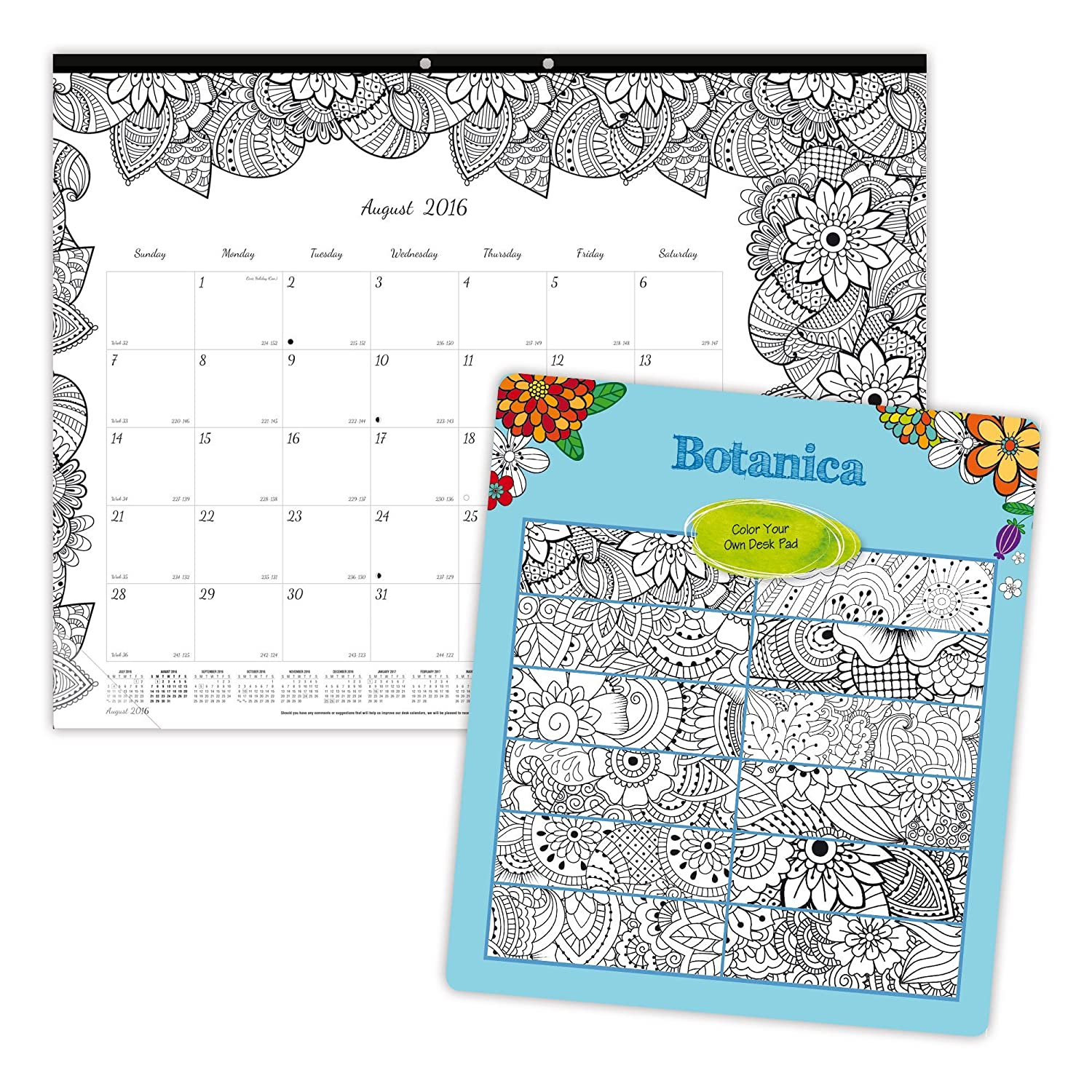 amazon com blueline 2017 academic monthly coloring desk pad