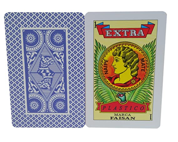 Mexican Playing Cards Naipe Spanish Style Faisan Extra Blue Color, Color Azul