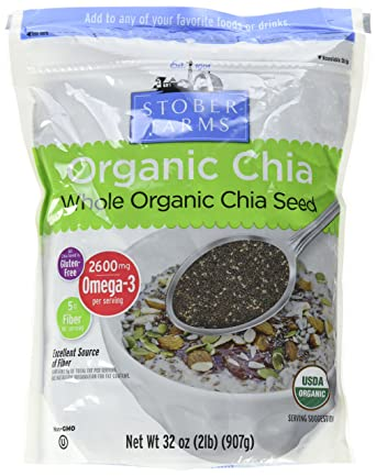 Las granjas de Stober orgánicos Whole Chia semillas, 2 libra ...