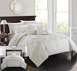 Chic Home 10 Piece Dorothy Comforter Set, King, Beige