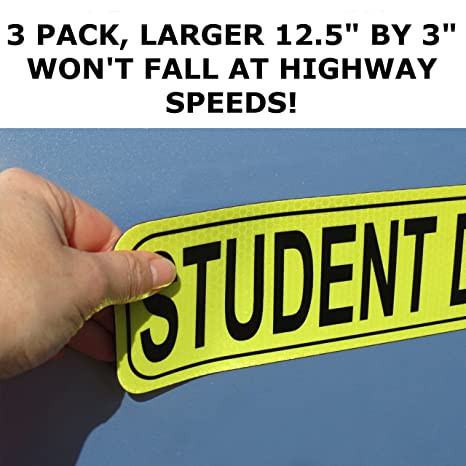 Golden Spearhead STUDENT DRIVER Car Sign 3 Pack MAGNET SET WONT FALL AT HIGHWAY SPEEDS LARGER 12.5 by 3