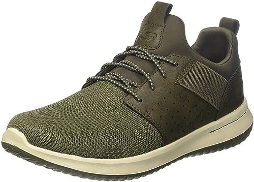 Skechers Delson-Camben, Zapatillas Para Hombre, Verde (Olive), 47.5 EU