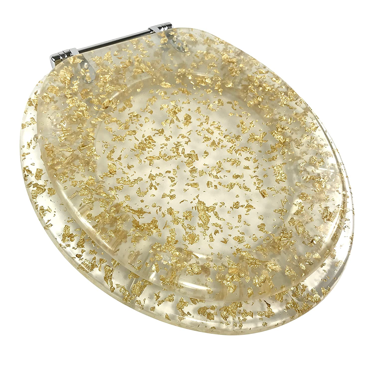 Ginsey Standard Resin Toilet Seat with Chrome Hinges Gold Foil