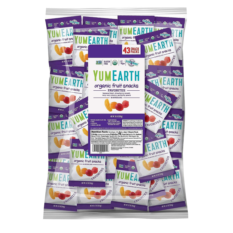 YumEarth Organic Vegan Fruit Snacks,Allergy Friendly, Non GMO, Gluten Free, Vegan , 0.7 Ounce Snack Packs, 43 Count - Pack of 1