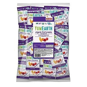 YumEarth Organic Vegan Fruit Snacks, 0.7 Ounce Snack Packs, 43 pack - Allergy Friendly, Non GMO, Gluten Free, Vegan (Packaging May Vary)