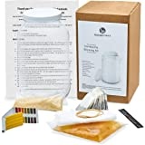 Complete Kombucha Starter Brewing Kit with Organic SCOBY - Gallon Brewing Jar and Plastic Lid, Tea Bags, Temperature Gauge, Organic Sugar and More - By Kitchentoolz