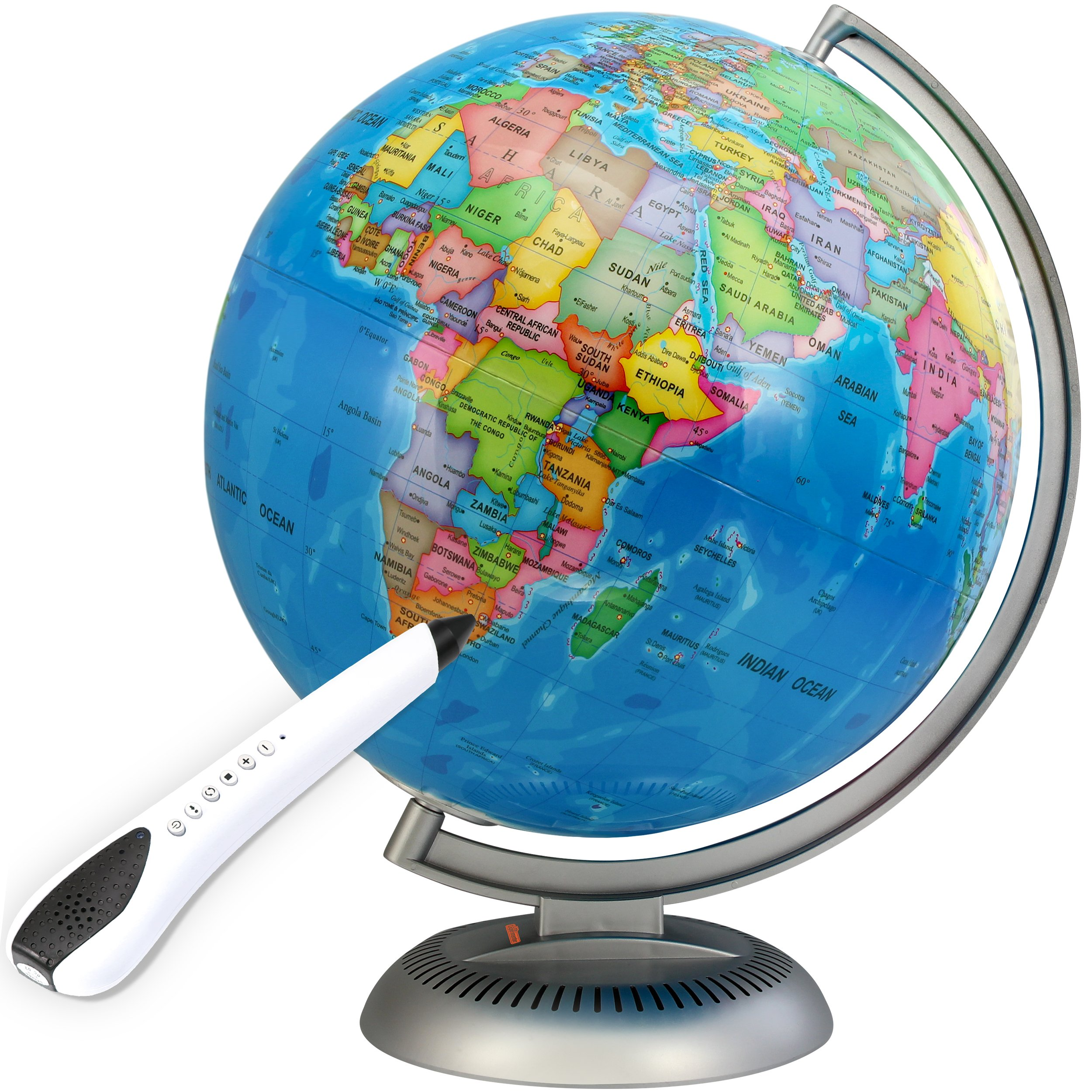 Illuminated Interactive Globe with Talking Smart Pen - 12'' World Globe Built in LED Light for Night View by Little Experimenter