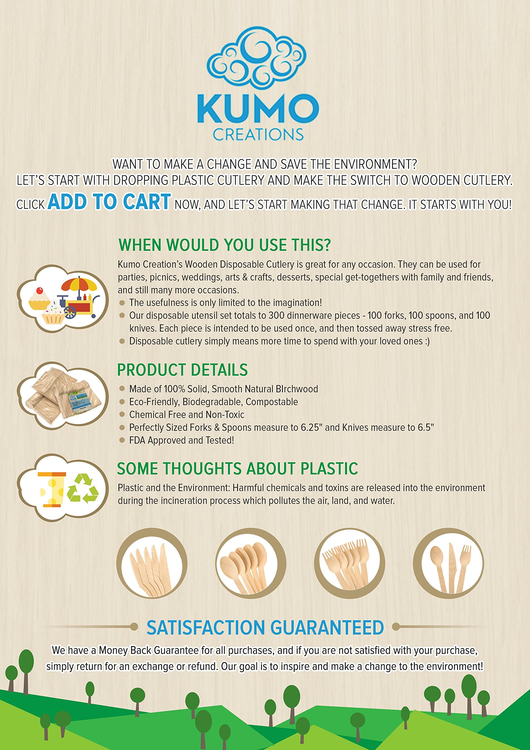 """Wooden Disposable Cutlery Combo Set – 300 pc - 100 Forks, 100 Spoons, 100 Knives, 6"""" Utensils - Eco Friendly, Biodegradable, Compostable – Parties, Weddings, Gatherings – FORGET Plastic, GO GREEN! by KUMO Creations (Image #7)"""