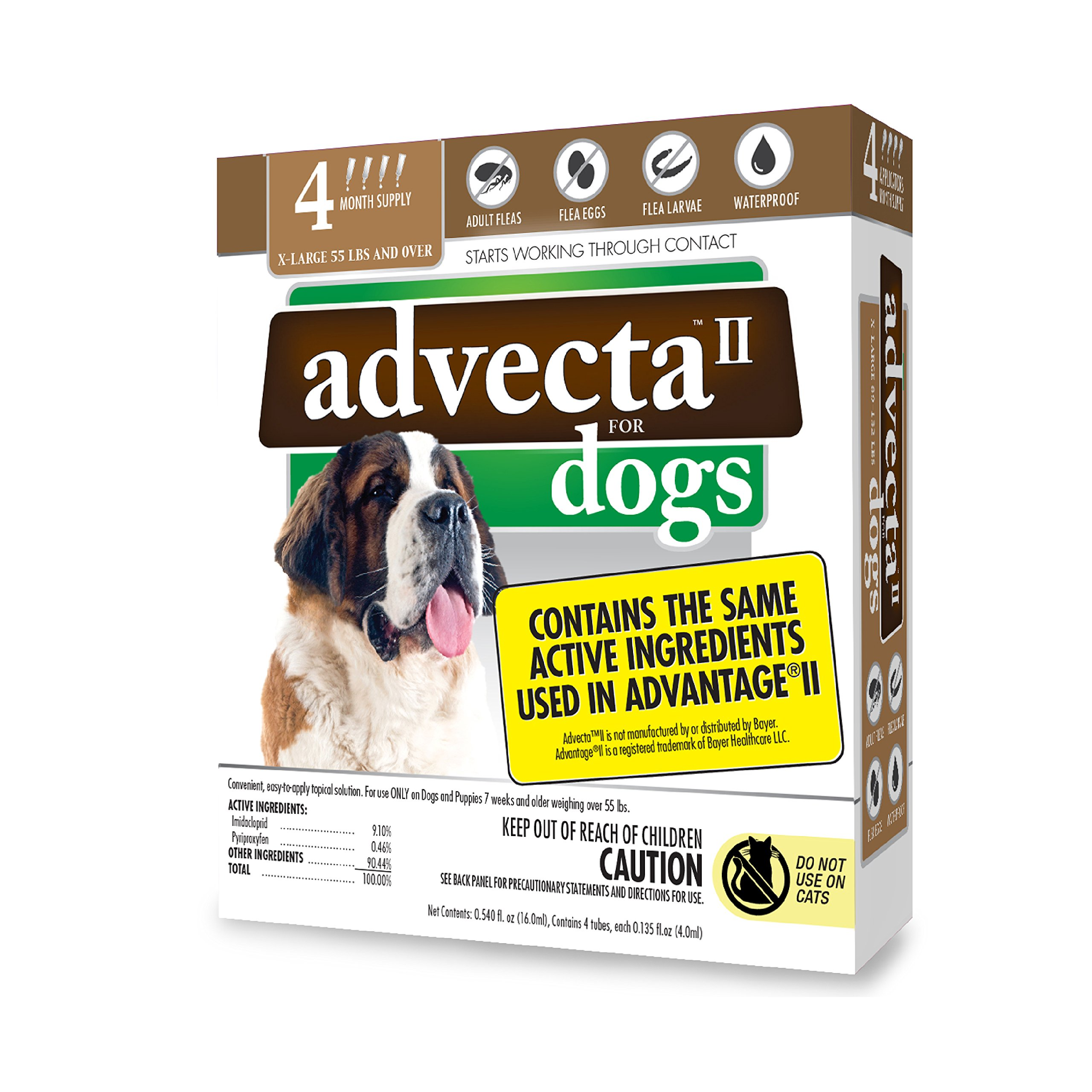 Advecta II Flea Treatment - Flea and Lice Prevention for Dogs, 4 Month Supply by Advecta