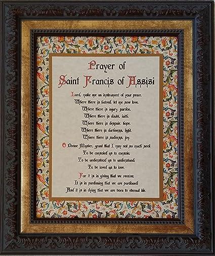 Amazon Com Prayer Of St Francis Framed Inspirational Catholic