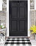 "Love Happy Buffalo Check Plaid Bath Runner Cotton Plaid Checkered Bath Mat Kitchen Mat Entry Way Bath Doormat Bedroom Carpet (24"" x 35"", A-Black and White)"