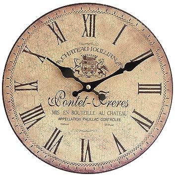 Perla pd Design Reloj de pared, de cocina, diseño vintage, diámetro aprox. 28 cm, madera, Pontet Freres: Amazon.es: Hogar