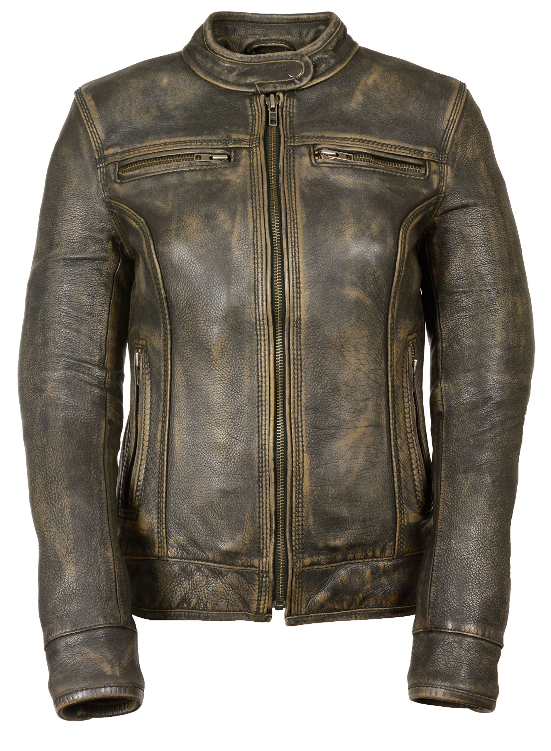 Womens Distressed Leather Vented Scooter Jacket, Brown Size S