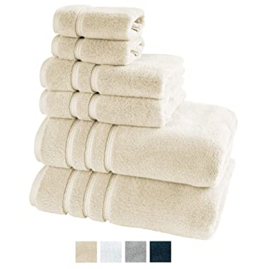 TRIDENT Large Bath Towels, 100% Cotton Zero Twist Towels 6 Piece Set -2 Bath, 2 Hand, 2 Washcloths, Softer Than a Cloud, Premium, Absorbent, Luxury Hotel Collection (Linen)