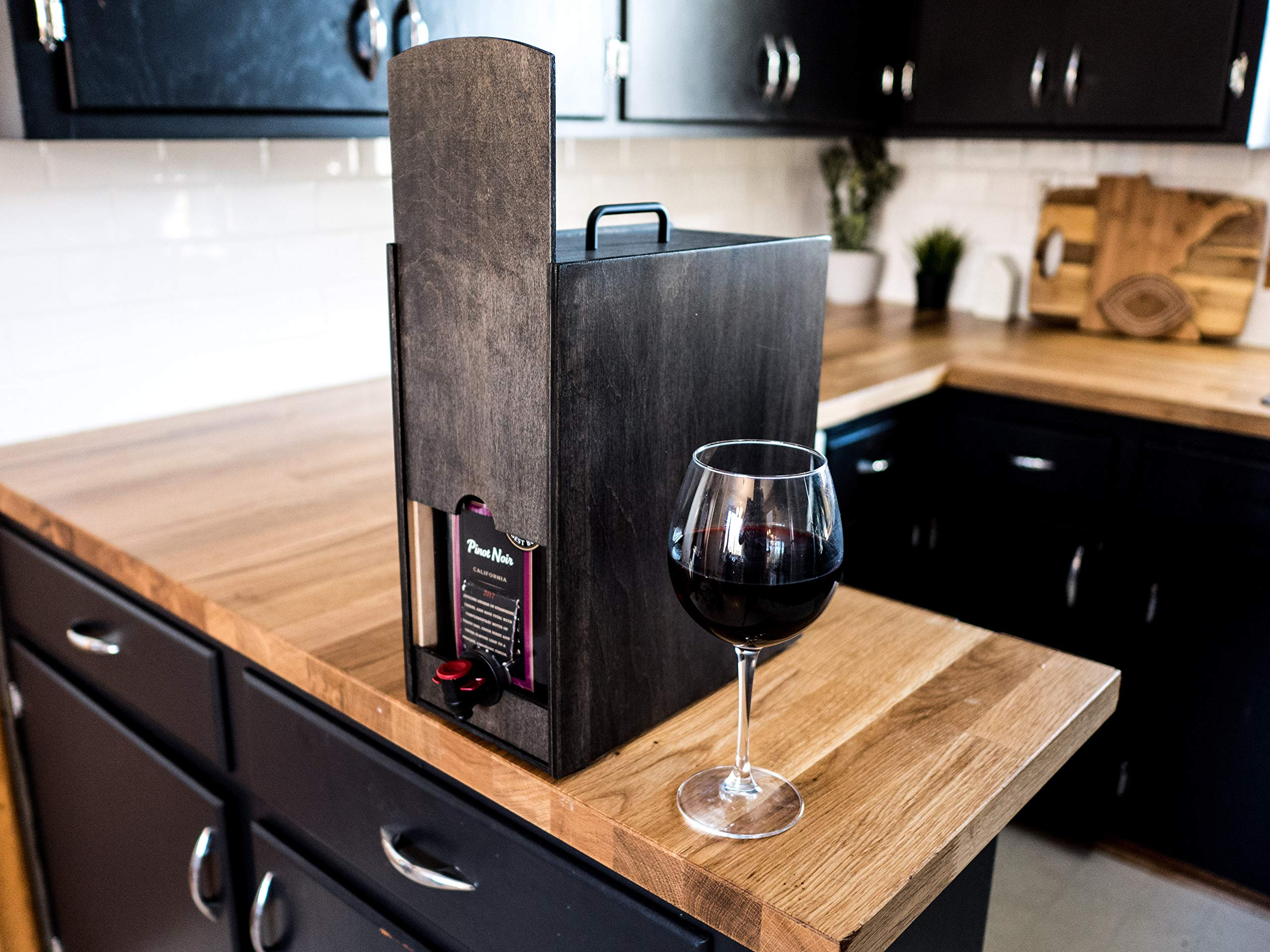 Boxed Wine Wood Case by Winewood | Black Color | Fits 3 Liter and 5 Liter Boxes of Wine | Holder, Dispenser, Cover for Boxed Wine by Winewood Cases (Image #3)