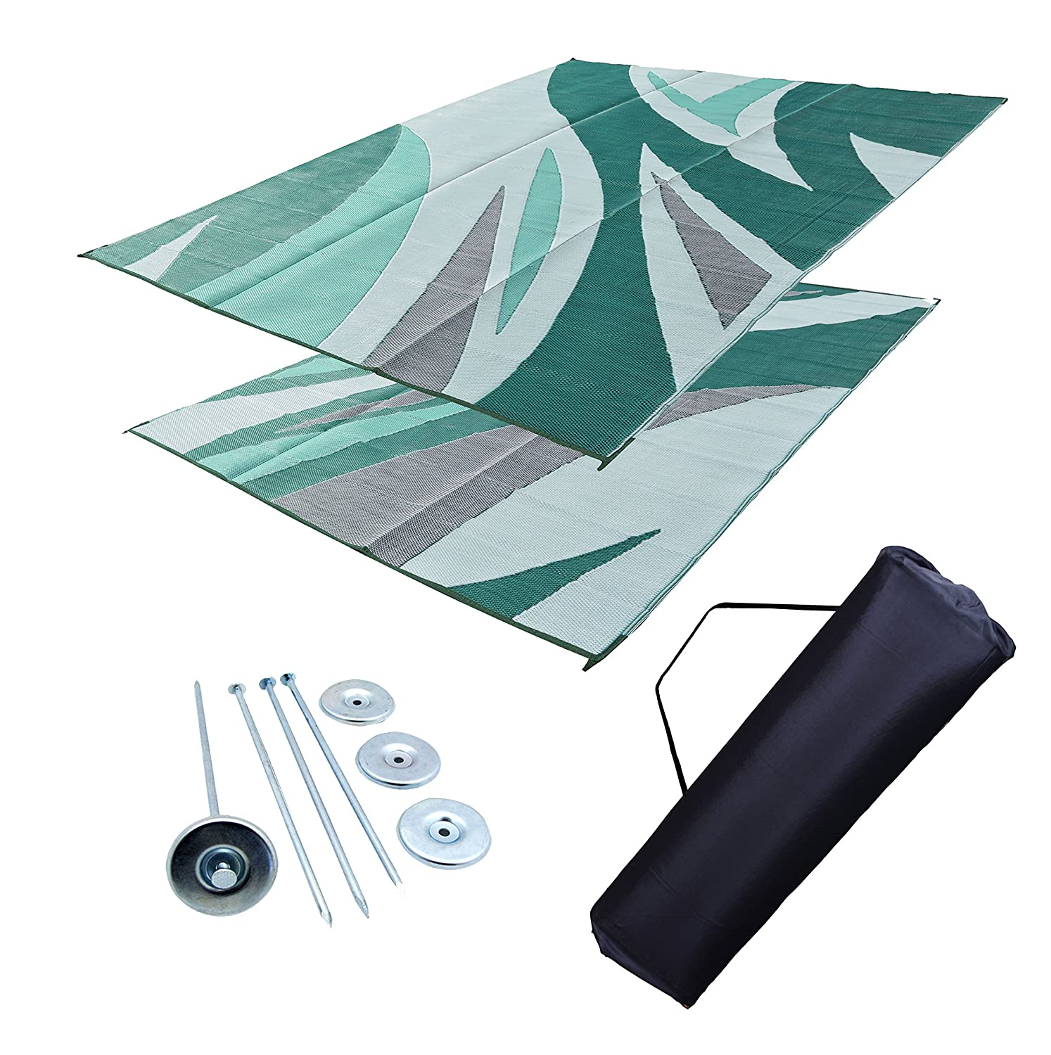 Amazon RV Patio Mat 9 x 18 Forest Green Waves Pattern